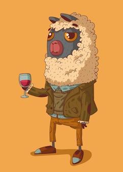 Oldstyle gekleideter manierierter alpaka-herr mit einem glas wein, der einen toast ausspricht