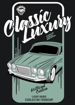 Oldtimer-luxus, illustration eines klassischen rennwagens