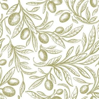 Oliva grün nahtlose muster vektor handgezeichnete baumfrucht textur laub auf weißem hintergrund natur