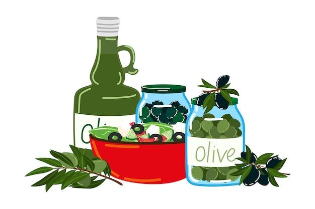 Oliva produktnahrungsmittelikone, nahrungsmittelkochsalat