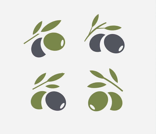 Olive-logo-set. schwarzer reifer und grüner olivenzweig mit blättern. gourmet-embleme. einfaches logodesign