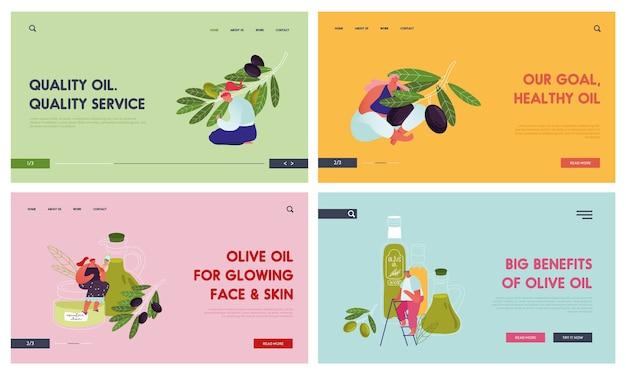 Olive products website landing page set. menschen, die sich um die ernte von olivenbäumen für die produktion von reinem nativem öl und kosmetik kümmern.