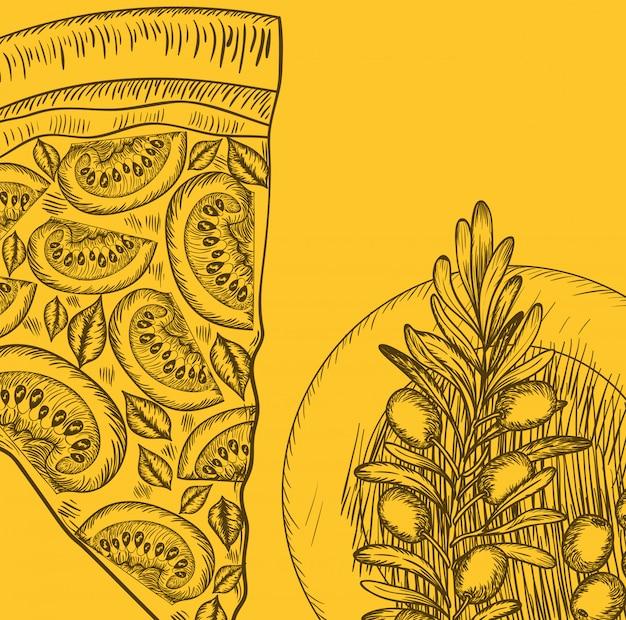 Olive und pizza gezeichnetes italienisches lebensmittel