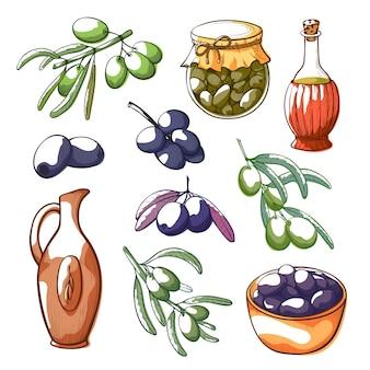 Oliven hand gezeichnete illustrationen festgelegt