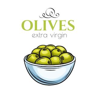 Oliven in einer schüssel