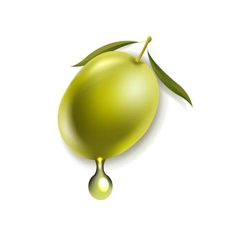 Oliven mit blatt lokalisiertem weißem hintergrund