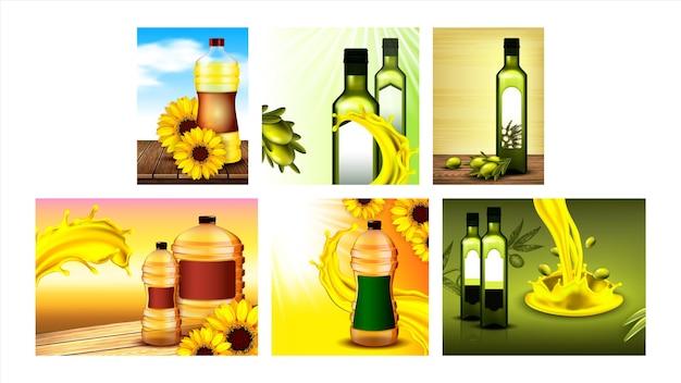 Oliven- und sonnenblumenöl-promo-poster set vector. sammlung verschiedener werbe-marketing-banner mit öl-leer-flaschen und spritzer, blumen und ast. farbkonzept vorlage illustrationen
