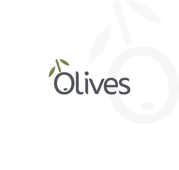 Oliven-vektor-logo schwarz reif und grüner olivenzweig mit blättern gourmet-essen embleme einfach