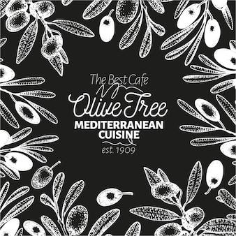 Olivenbaum banner vorlage. vektor retro abbildung auf kreidebrett.