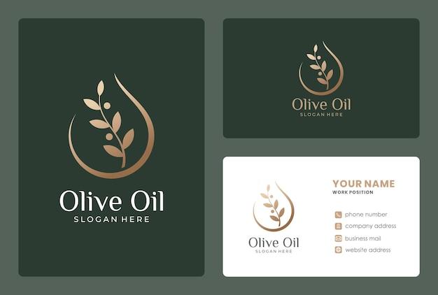 Olivenernährungslogodesign mit visitenkarte
