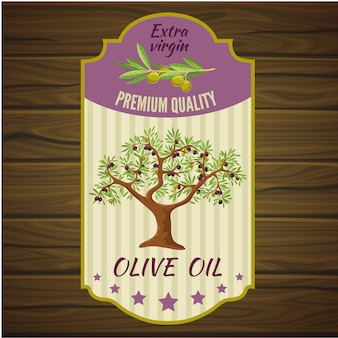 Olivenetikett auf holz