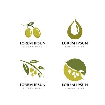Olivenlogoikone und olivenöllogoschablonenvektor