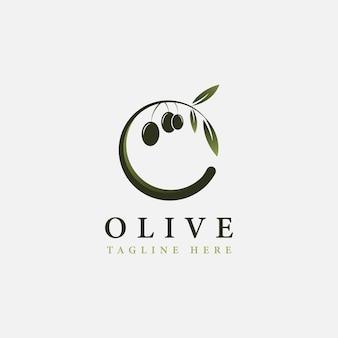 Olivenlogoschablonenvektorikonen-illustrationsdesign