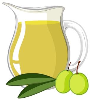 Olivenöl auf weißem hintergrund