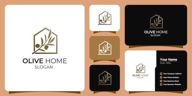 Olivenöl-design-logo und visitenkarte