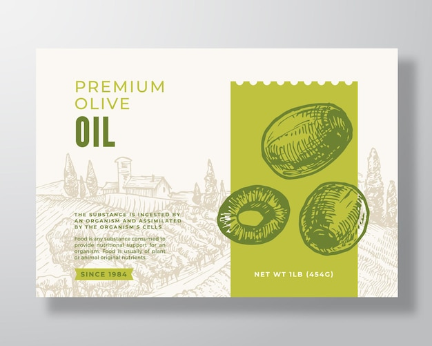 Olivenöl-etikett-vorlage. abstraktes vektor-verpackungs-design-layout. moderne typografie-banner mit handgezeichneten grünen oliven und ländlichem landschaftshintergrund. isoliert.