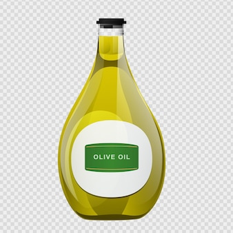 Olivenöl-glasflasche im cartoon-stil.