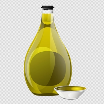 Olivenöl-glasflasche und schüssel im cartoon-stil.