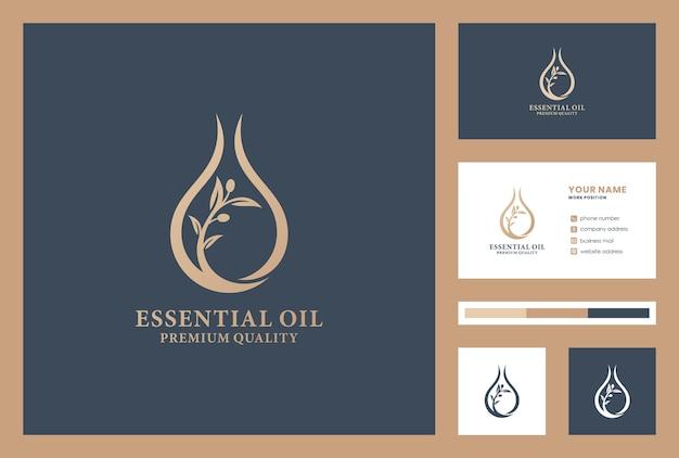 Olivenöl logo design inspiration mit visitenkarte. lässt logo fallen. schönheitsprodukt. bio-öl.