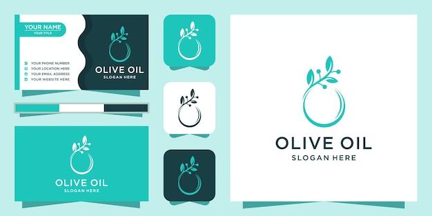 Olivenöl-logo-design mit visitenkarte