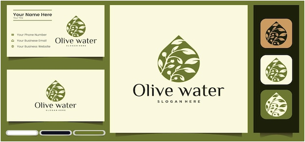 Olivenöl-logo-design-vorlagenset olivenöl und visitenkarte mit grün