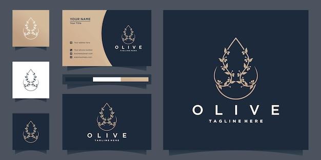 Olivenöl logo mit einzigartigem schönheitsblumenstil und visitenkarte premium-vektor