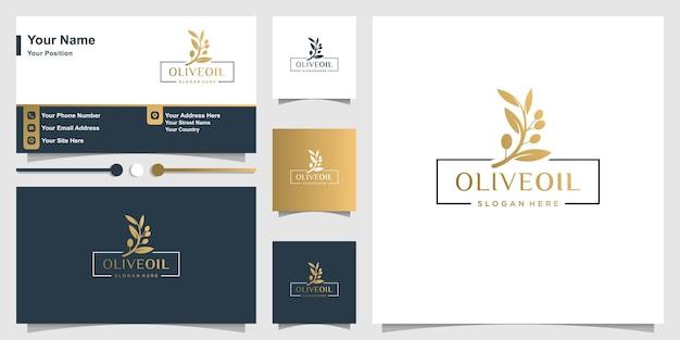 Olivenöl logo mit frischem konzept und visitenkartendesign premium-vektor