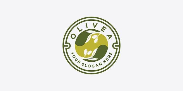 Olivenöl-logo mit modernem emblem linie kunststil mit kombiniertem blatt, wasser, olivenzweig und blattsteinfrucht premium-vektor. teil 1