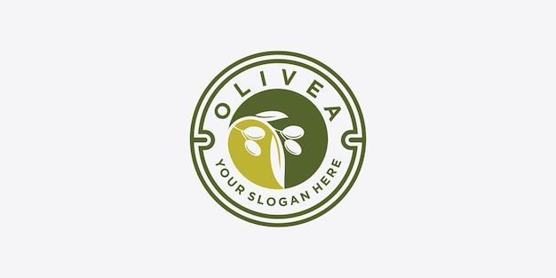 Olivenöl-logo mit modernem emblem linie kunststil mit kombiniertem blatt, wasser, olivenzweig und blattsteinfrucht premium-vektor. teil 2