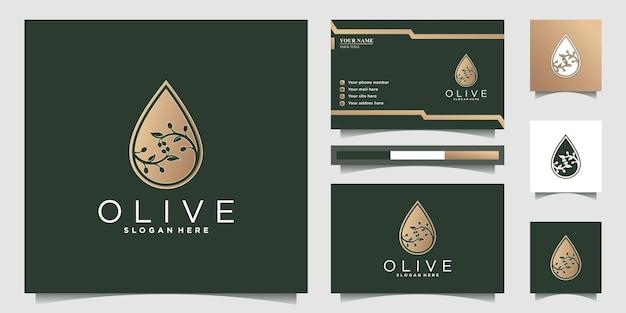 Olivenöl-logo mit negativem raumstil der steigungsform und visitenkartendesign premium-vektor