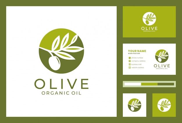 Olivenöl-logo mit visitenkartenentwurf