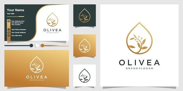 Olivenöl-logo und visitenkarte mit modernem strichgrafikstil