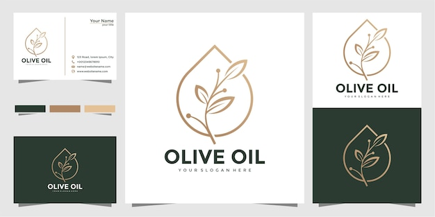 Olivenöl-logo und visitenkarten-design