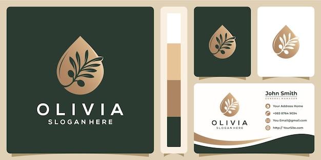 Olivenöl-luxuslogo mit visitenkartenschablone