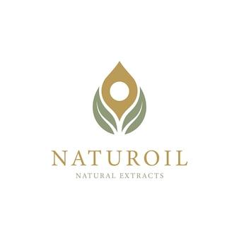 Olivenöl mit tropfen- und blatt-logo-design