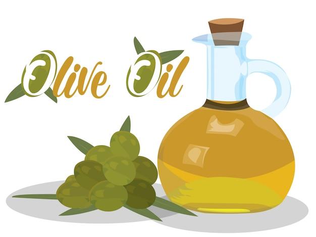 Olivenölvektor auf weißem hintergrund