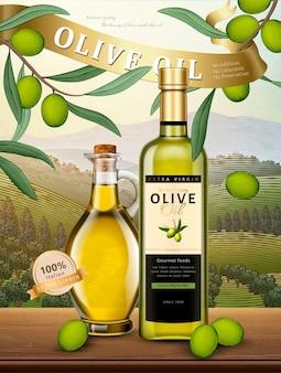 Olivenölwerbung, exquisites olivenölprodukt in der illustration und natürlicher obstgarten im gravurstil