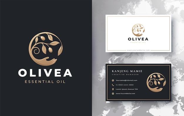 Olivenölzweig mit hand-up-logo und visitenkartenentwurf