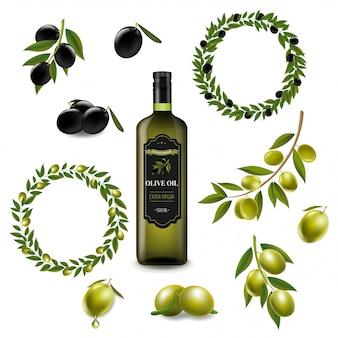 Olivenset mit kranz lokalisiertem weiß