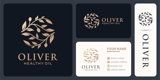 Olivenzweig-logo-design für gesundes öl und kosmetik.