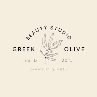 Olivenzweig mit blättern und früchten logo-design-vorlage im einfachen minimalen linearen stil. abstrakte weibliche vektorzeichen mit blumenillustration für schönheitsstudio, spa-salon, biokosmetik