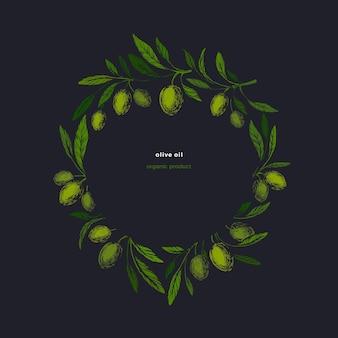 Olivgrüne kotinos. weinlesekranz, altes symbol. kunst