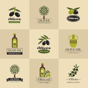 Olivgrüne logos, etiketten und embleme