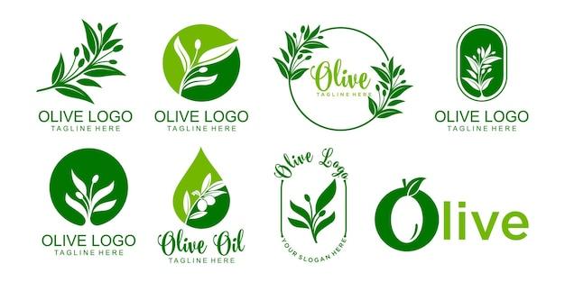 Olivgrünes logo icon set template vector design