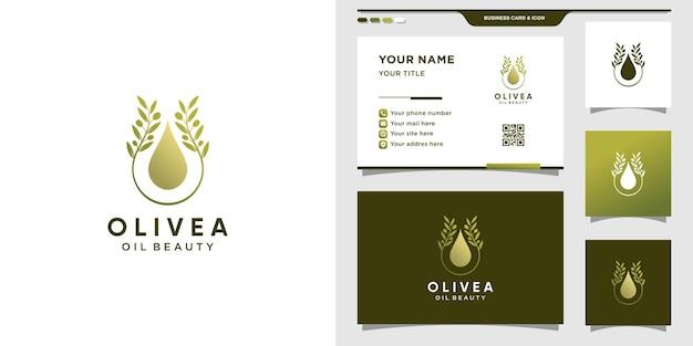 Olivgrünes logo kombiniert mit wassertropfen. olivenöl-logo und visitenkartenentwurf