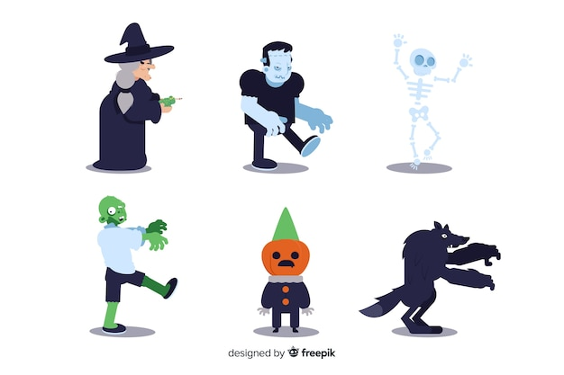 Ollection des halloween-charakters auf flachem design
