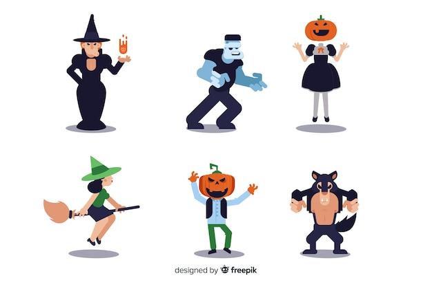 Ollection des halloween-charakters auf flachem design
