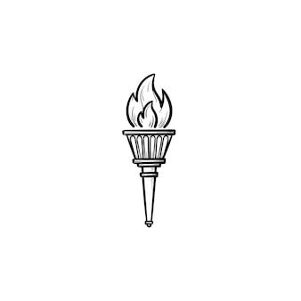 Olympische fackel handgezeichnete umriss-doodle-symbol. olympische spiele, erfolgssymbol, sieger- und triumphflammenkonzept. vektorskizzenillustration für print, web, mobile und infografiken auf weißem hintergrund.