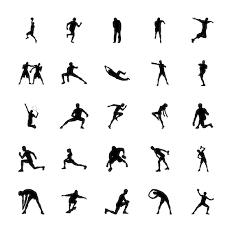 Olympische spiele silhouetten icons pack