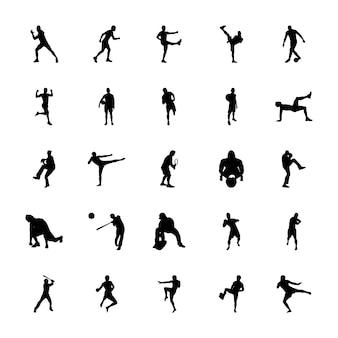 Olympische spiele silhouetten icons set